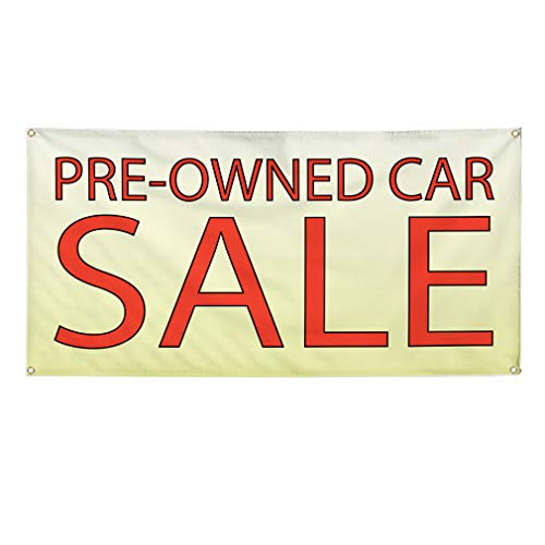 Vinyl Banner Sign Pre-Owned Car Sale #1 Style D Automotive Marketing Advertising Yellow - 24inx60in (Multiple Sizes Available), 4 Grommets, Set of -