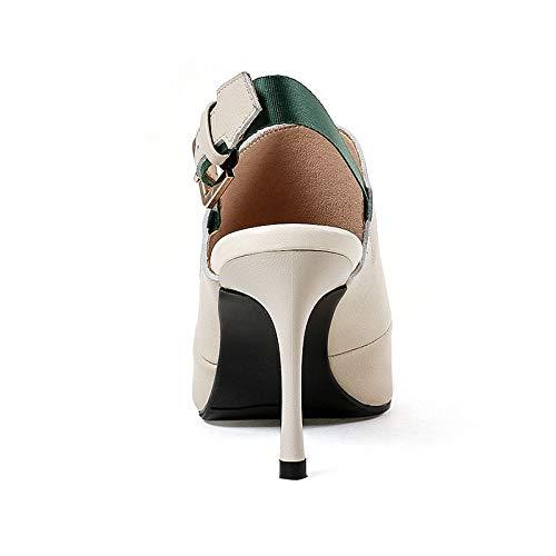 Mature Cuir Femme Printemps Confort Hauts Femmes Bout Hoesczs Chaussures Véritable Talons Pompes 2018 Slingbacks Été Ol Orteil Black IcqaICz5w