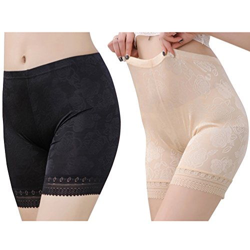 con albicocca Pantaloncini Cintura Intimi Pizzo Donna in Fitibest Elastica Nero PzRBqwXXW