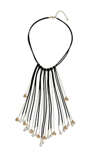 Gnzoe Chunky Choker Necklace Long Tassel Statement Collar Necklaces for Women Length (Diy Evil Queen Costume)