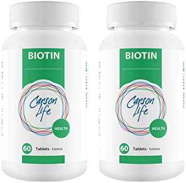 CARSON LIFE - Biotin Supplement (2-Pack, 60 Tablets) Bundle - Vitamin Promotes Hair Skin and Nails