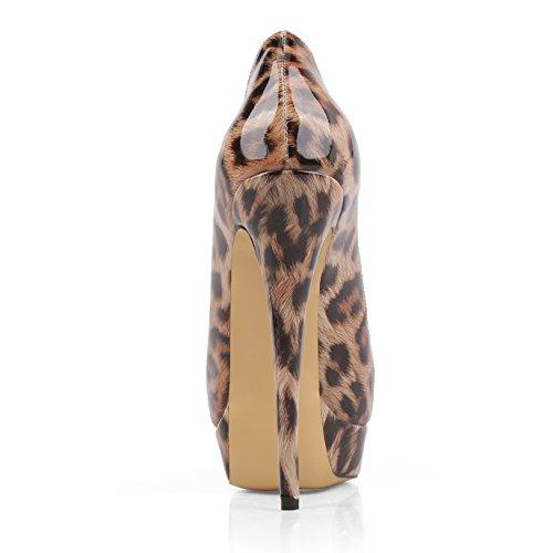 Chris-t Womens Stiletto Talon Plateforme Peep Toe Pompes Leopard 1