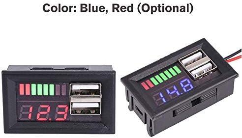 Bleu JICHUI LED Affichage num/érique Voltm/ètre Voltm/ètre Volt testeur Double USB 5V 2A pour DC 12V Voitures Motocycles V/éhicules Capacit/é de la Batterie