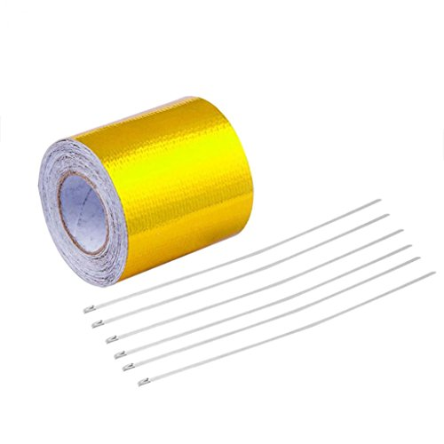 5m High-Temperature Heat Reflective Tape Adhesive Backed Engine Protection Wrap - Golden bjlongyi -