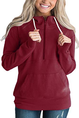 Vemubapis Rouge Zip À 4 Femme 1 Uni Capuche Sweat Automne 8vqx8ra