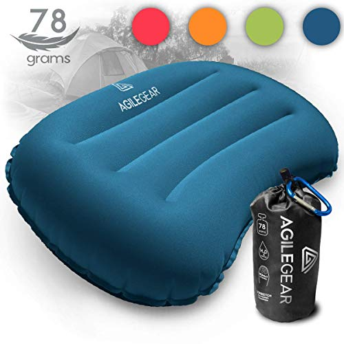 Agile Gear Camping Pillow - Inflatable Ultralight Camp and Backpacking Sleeping Pillow - Compact Soft Compressible, Packable, Ergonomic Neck and Lumbar Support for Travel in Dark Blue