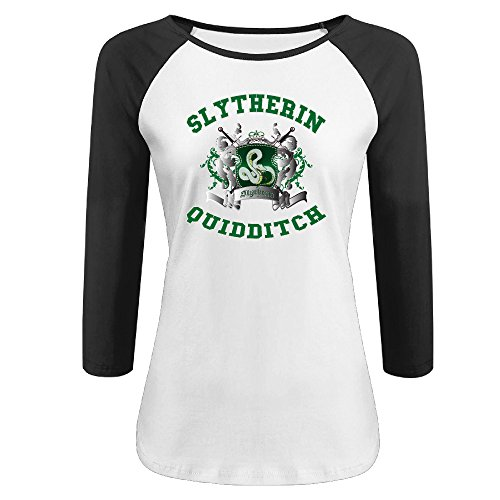 About Football T-shirt (ZZYY Womens Cute Potter Slytherin Quidditch 3/4 Sleeve T-shirt Sport Black S)