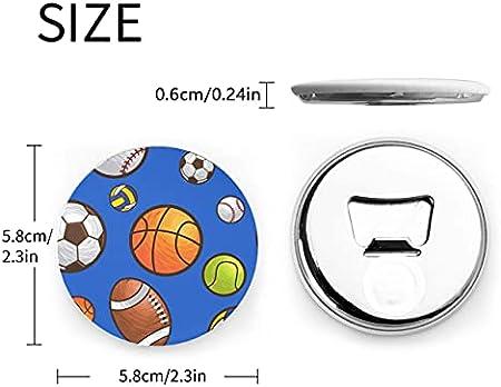 Sport Ball Seamless Vector Abrebotellas 2 Piezas Abrebotellas Nevera Círculo Imanes