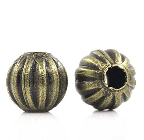 (200PCs Metal Spacer Beads Pumpkin Round Ball Bronze Tone 6mm(2/8