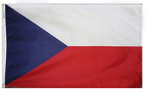 Annin Flagmakers Model 192046 Czech Republic Flag 3x5 ft. Nylon SolarGuard Nyl-Glo 100% Made in USA to Official United Nations Design Specifications.