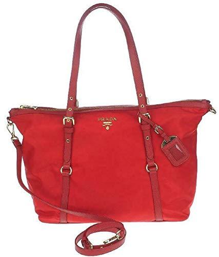 Prada Red Tessuto Nylon Saffiano Leather Trim Shopping Tote Bag 1BG253 ()