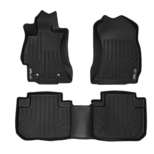 SMARTLINER Floor Mats 2 Row Liner Set Black for 2014-2018 Subaru Forester