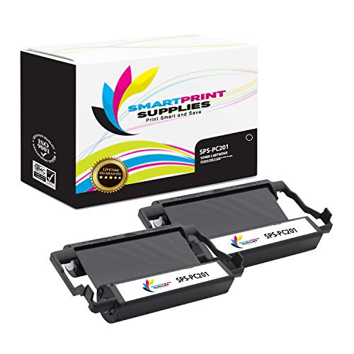 (Smart Print Supplies Compatible Brother PC201 Black Ribbon Cartridge for Intellifax 1170 1270 1270E 1570MC 1575MC, MFC 1770 1780 1870MC 1970MC Printer 5M Characters (2 Pack))