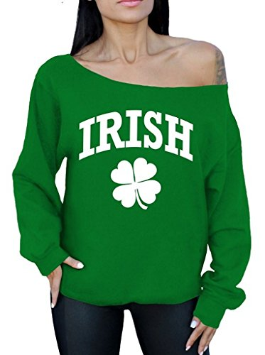 Awkwardstyles Irish Clover Off The Shoulder Oversized Sweatshirt St Patrick's 2XL Green