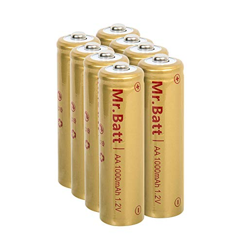 Mr.Batt NiCd Solar Rechargeable AA Batteries, 1000mAh 1.2V (8 Pack)