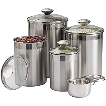 Amazon Com Oggi 4 Piece Stainless Steel Canister Set With