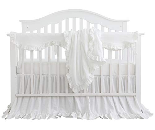 - Blush Coral Pink Ruffle Crib Bedding Set Baby Girl Bedding Blanket Nursery Crib Skirt Set Baby Girl Crib Bedding Sheet (White, 4 Pieces Set with Rail Cover)