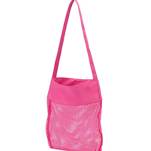 Mesh Shell Beach Tote, Hot Pink Personalized