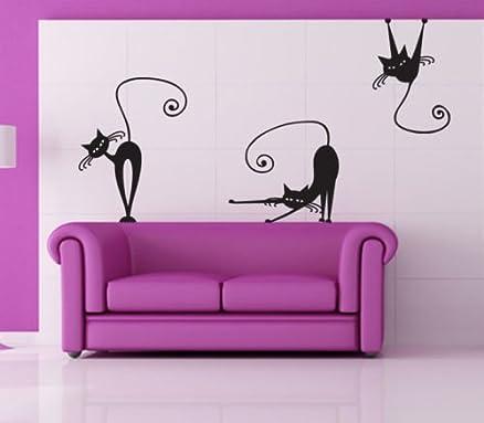 Adesivi Creativi Adesivo Sticker Murale Gatti 2 Dimensioni 50 X 70