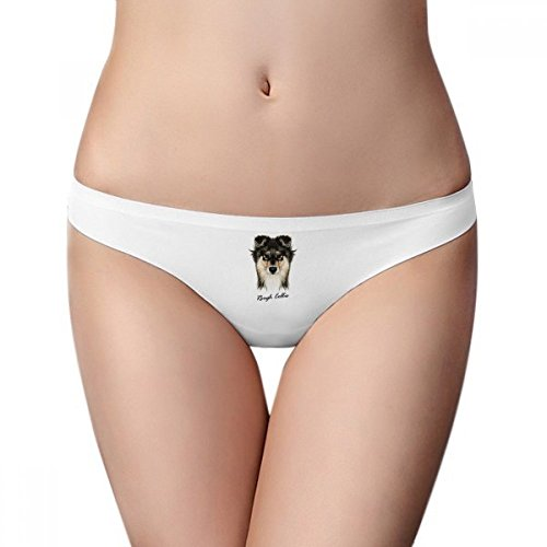 Long-Haired Rough Collie Pet Animal Women Panties Invisible Seamless Briefs G-String T-Back 2pcs Gift (Collie Rough Haired)