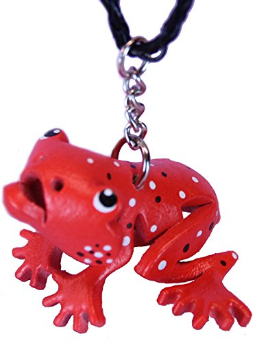 Dart Frog Pendant Charm Jewelry - Necklace - Strawberry Red Leather Gifts For Girls