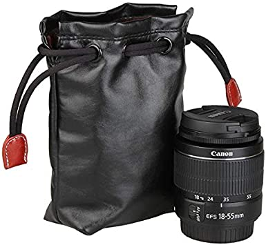 Villus Storage Bag with Stay Cord for Camera Lens Size Color : Color2 70mm x 60mm x 130mm Durable JINGZ Soft PU Leather