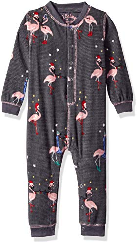 PJ Salvage Kids Baby Girls Romper Flamingo pj, Charcoal, 3/6 mo ()