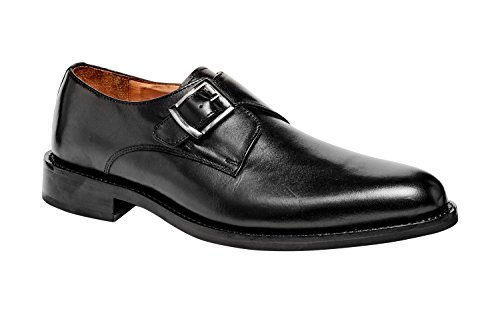 Mens Monk Strap Leather Dress Shoe 1960 Goodyear Welted (14 D, Black - -