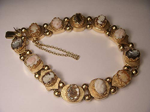 Magnificent Antique 14K Opal Coral Carnelian Tiger Eye Cameo Slide Bracelet