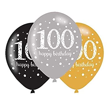 100th Birthday Balloons Black Silver Gold Pack Of 6 Amazoncouk Toys Games