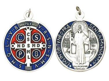 - Religious Gifts St. Benedict Medal Blue Enameled Silver-Tone 1-1/4 Inches
