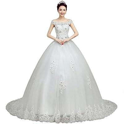 Beautbride Women's Gorgeous Off Shoulder Beaded Lace Long Wedding Dresses BBD154