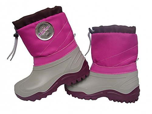 Renbut-Muflon Mädchen Schneeschuhe Boots Rosa Grau Winterschuhe Gummistiefel Matschschuhe Gefüttert Wolle Mehrfarbig