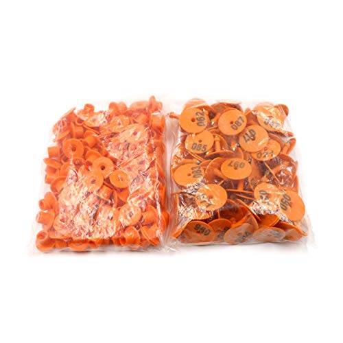 orange Round orange Round Ioffersuper 100 Pack TPU Ear Tags with Number Copper Head Earring Farm Animal Identification Card