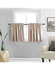 DONREN 2 Panels 30 Inch Length Tier Curtains- Blackout Thermal Insulating Small Valance Curtains for Bathroom with Rod Pocket (Warm Taupe,30 Inches Wide by 30 Inches Long)