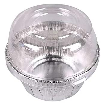 4oz (130ML) Silver Color Aluminum Foil Baking Cups with Dome Lids, 40/Pack