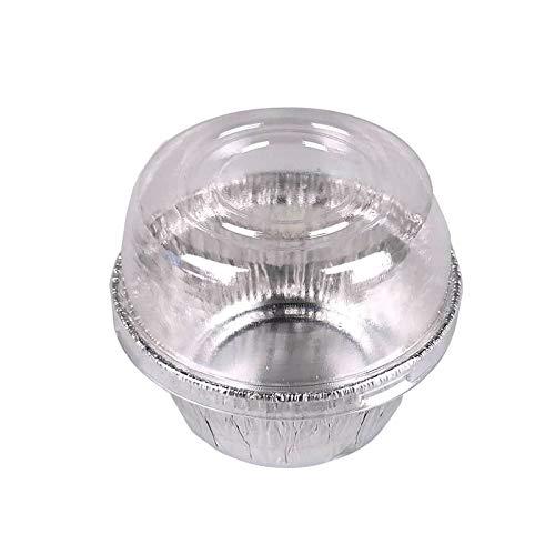 4oz (130ML) Silver Color Aluminum Foil Baking Cups with Dome Lids, 40/Pack