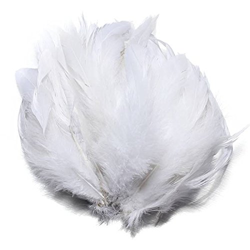"KING DO WAY 100pcs Fluffy Fashion Rooster Feather Fringe Decoration Home Craft DIY 6-8"" US white"