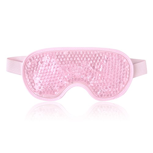 Reusable Eye Mask with Gel Beads for Hot Cold Therapy, Flexible and Non Toxic Cold Face Eye Mask for Swollen Eyes, Dry Eyes and Headache Relief - Pink
