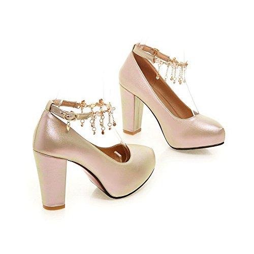 AllhqFashion Damen Rund Zehe Hoher Absatz Weiches Material Rein Schnalle Pumps Schuhe Golden