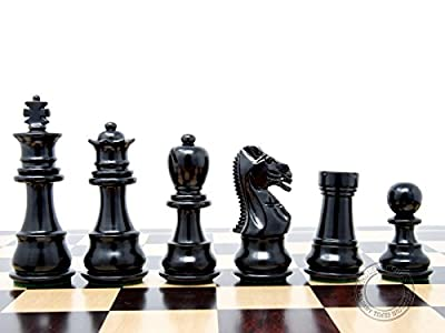 """House of Chess - Ebonized / Boxwood Galaxy Staunton Wooden Chess Set Pieces King Height 3"""" - Triple Weighted"""