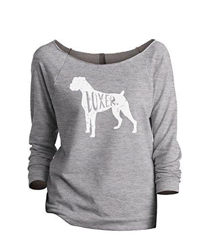 Thread Tank Boxer Dog Silhouette Women's Slouchy 3/4 Sleeves Raglan Sweatshirt Sport Grey Large