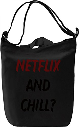 Netflix and chill Borsa Giornaliera Canvas Canvas Day Bag| 100% Premium Cotton Canvas| DTG Printing|