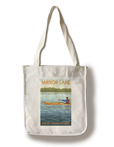 Lantern Press Mirror Lake, New Hampshire - Kayak Scene (100% Cotton Tote Bag - Reusable)