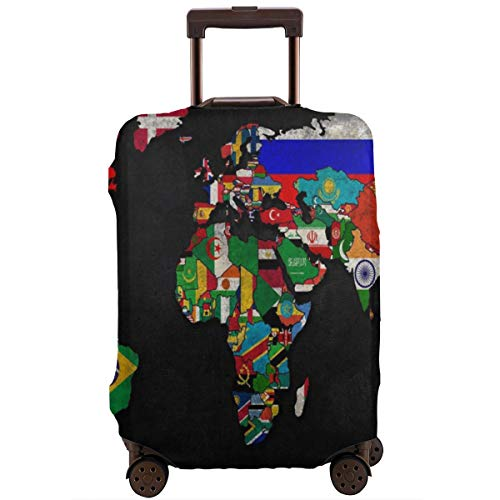 Travel Luggage Suitcase Protector Zipper Closure Baggage Protector for 18-28 Inch Suitcase, Anti-Scratch Luggage Case Protective Cover, Washable (World Map Flag)