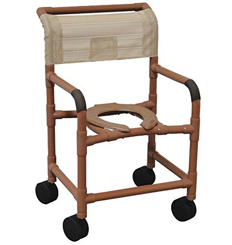 MJM International 122-5TL-SQ-PAIL-DDA-SSDE Wide Shower Chair with 5'' Total Lock Casters, Commode Pail, Drop Arms and Soft Seat, 375 oz Capacity, 40.5'' Height x 26'' Width x 27'' Depth, Royal Blue/Forest Green/Mauve