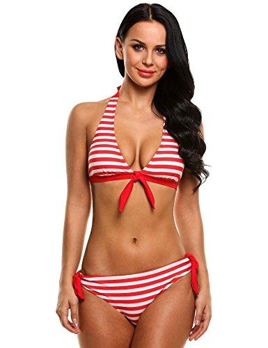 Coorun Mujeres Ropa de Baño Bikini Halter Estampado Rayas Lazo Frontal de la Playa Rojo