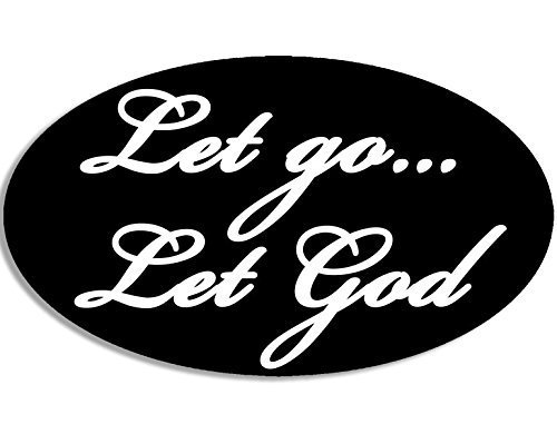 GHaynes Distributing Black OVAL Let Go Let God Sticker Decal (decal Sticker Decal ic christian jesus) Size: 3 x 5 inch]()