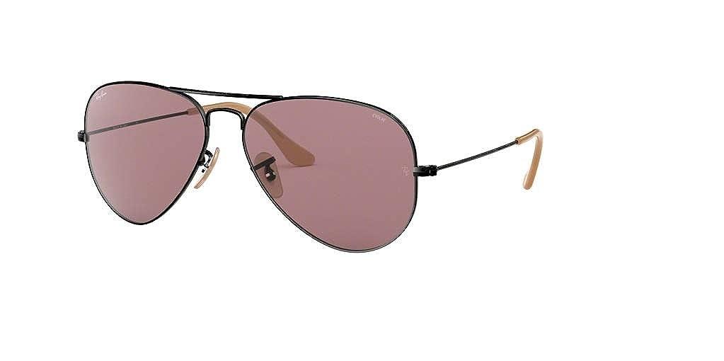 ab0172bb490aa Amazon.com  Ray-Ban RB3025 AVIATOR EVOLVE 9066Z0 55M Black Violet Sunglasses  For Men For Women  Clothing