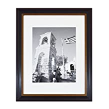 Golden State Art, 11x14 Black Photo Frame with Burgundy & Gold Trim, White Mat for 8x10 Pictures or Photos, and Real Glass